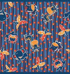 cute jungle animals seamless pattern vector image