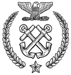 doodle us military wreath navy vector image vector image