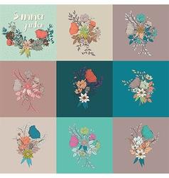 flower bouquet collection botanical floral decor vector image