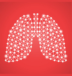 human lungs isolated on a red background vector image vector image