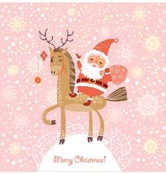 Santa Claus on a horse vector image vector image