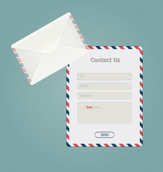 Simple message form and classic envelope vector image vector image