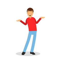Young happy smiling man in red pullover standing vector