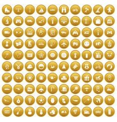 100 toys for kids icons set gold vector