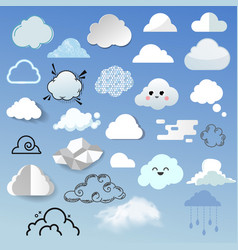 cloud icon different style cloudy design nature vector image