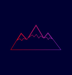 mountain sign line icon with vector image