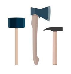 Set of instrument ax hammer vector image