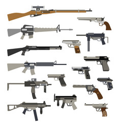 different automatic weapons vector image vector image