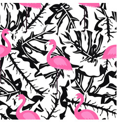 flamingo pattern on black and white vector image vector image