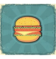 hamburger poster retro vector image