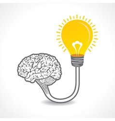 new idea concept or bulb connect to the brain vector image