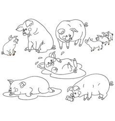 Pig Set vector image vector image