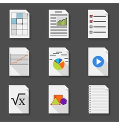Set of icons of office documents in a flat style vector image