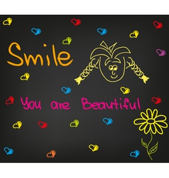 Smile you are beautiful vector image vector image