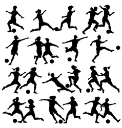 Women playing football vector image vector image