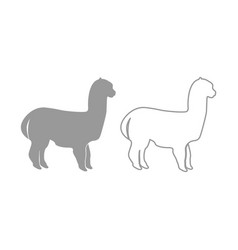 Alpaca icon grey set vector