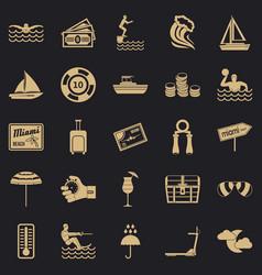 Aquatics icons set simple style vector