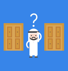 Arab business man confuse to choose which door vector