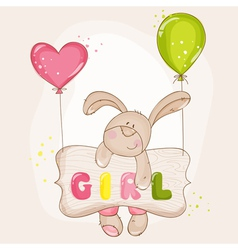Baby bunny with balloons - for shower vector