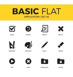 Basic set of Application icons vector image
