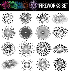 Beautiful Fireworks on white background vector