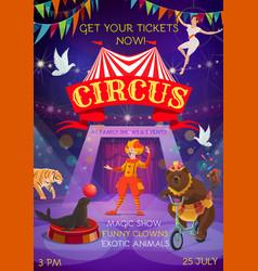 Big top circus magic show animals and clowns vector