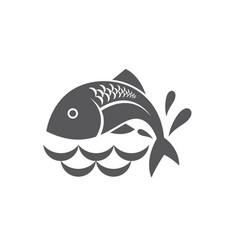 Black fish icon vector