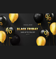 black friday background with black and gold vector image