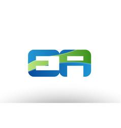 Blue green ea e a alphabet letter logo vector
