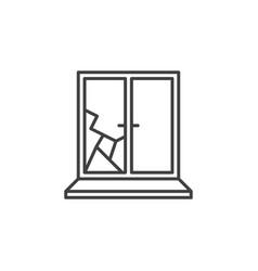 Broken window simple icon in thin line vector
