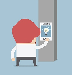 Businessman standing in front of missing idea post vector