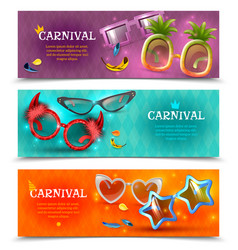 carnival glasses horizontal banners vector image
