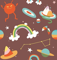 Cartoon cosmos and alien seamless pattern vector image vector image