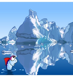 Cartoon fish in the sea with icebergs vector