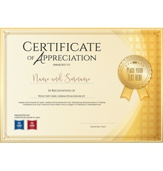 Certificate template for achievement appreciation vector image