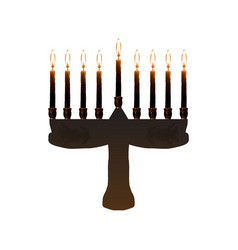 chanukiah jewish holiday hanukkah vector image