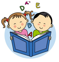 children reading a book vector image