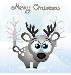 christmas card funny card with a christmas deer vector image