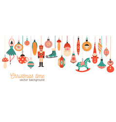 christmas time flat banner template xmas vector image