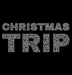 christmas trip text in polygonal mesh style vector image