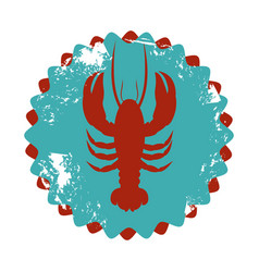 Color circular frame with lobster vector