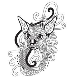 Coloring antistress cat 9 vector