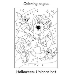 Coloring book page cute unicorn with halloween vector