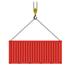 Crane lifts and cargo container vector