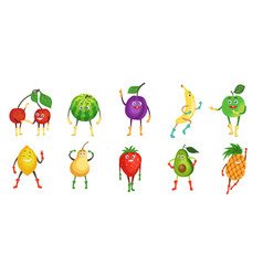 Cute and funny fruit character set flat vector