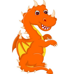 cute baby dragon cartoon sitting with look up vector image