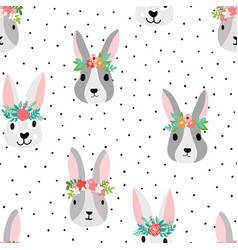 cute bunny seamless pattern with bunny vector image