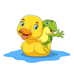 cute duck and frog cartoon vector image