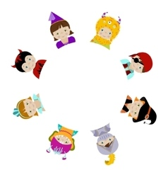 Cute kids in fancy costumes behind circle blank vector