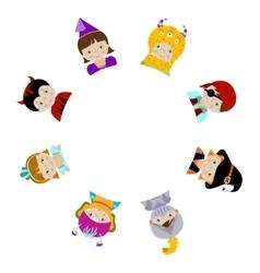 Cute kids in fancy costumes behind circle blank vector